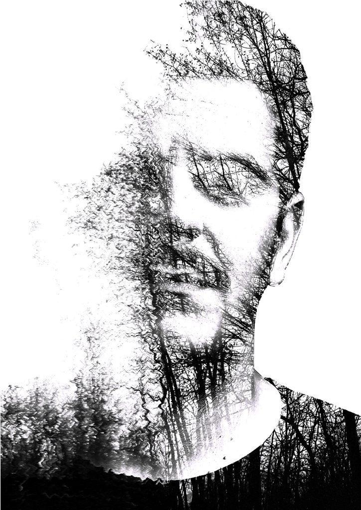 Ilustrație double-exposure realizată pentru Addo, DJ rezident al Club AVi