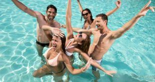 Party in swimming pool.