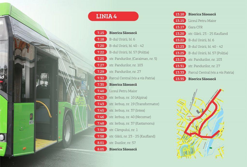 Orarul și rutele autobuzelor ecologice pentru municipiul Reghin valabile din 16 septembrie